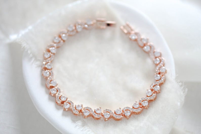 Rose gold cubic zirconia wedding tennis bracelet - HADLEY