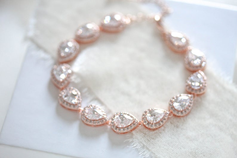 Rose gold teardrop cubic zirconia Bridal bracelet - NORAH - Treasures by Agnes