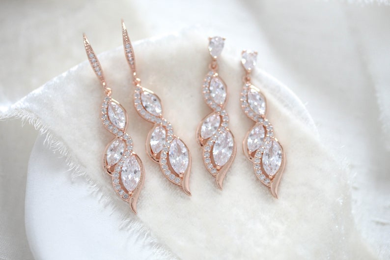 Rose gold dangle Bridal earrings - HADELY