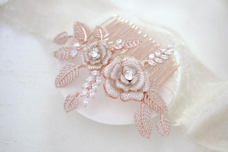 Rose gold Floral hair comb for bride - INNA