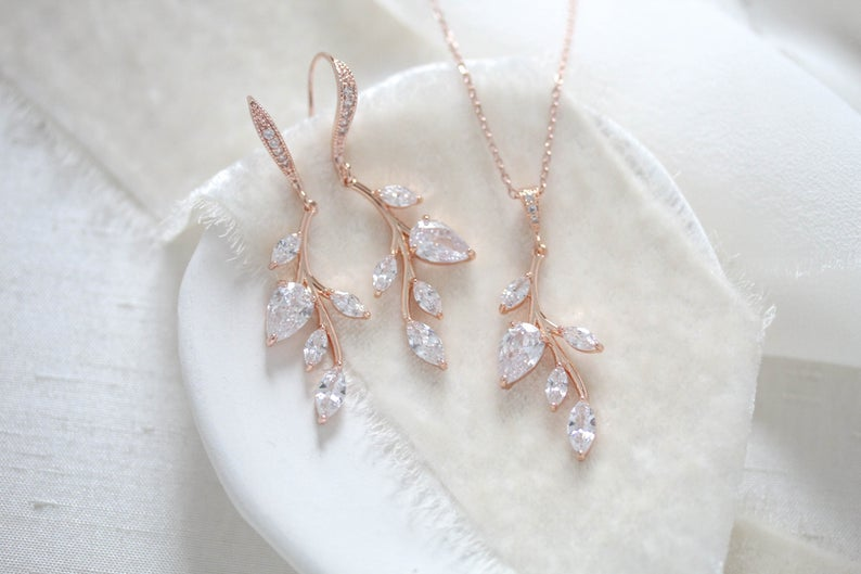 Delicate rose gold bridal necklace and earrings set - APRILLE