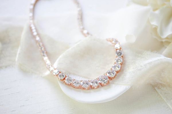 Rose gold cubic zirconia bridal tennis necklace - SOPHIE - Treasures by Agnes