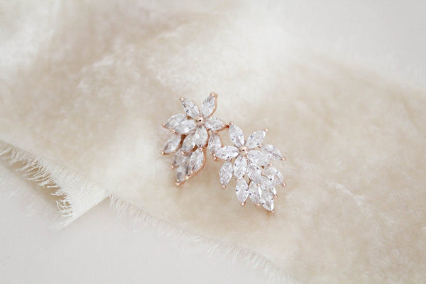 Rose gold cubic zirconia cluster stud earrings - LANA - Treasures by Agnes