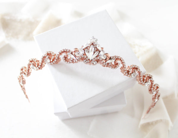 Simple rose gold Bridal tiara with Swarovski crystals - SHELBY - Treasures by Agnes