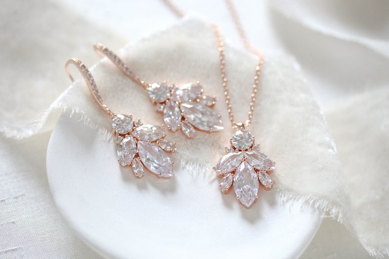 Simple Rose gold Wedding jewelry set -  CORA