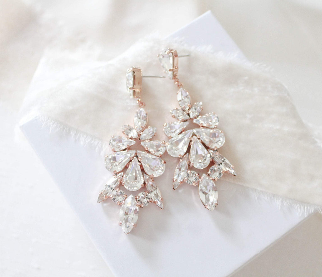Rose gold Statement Wedding earrings - LIMOR - Treasures by Agnes