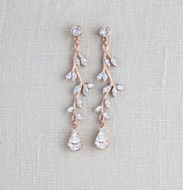 Long Rose gold Swarovski crystal Bridal earrings - JOY - Treasures by Agnes