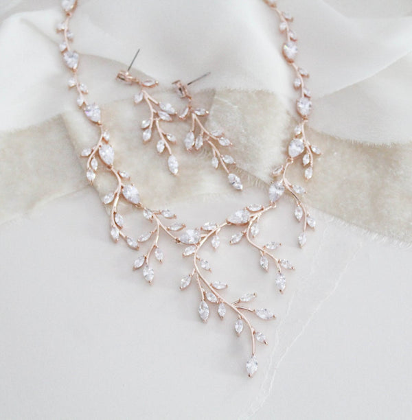 Rose gold statement backdrop necklace and earring set - APRILLE - Treasures by Agnes