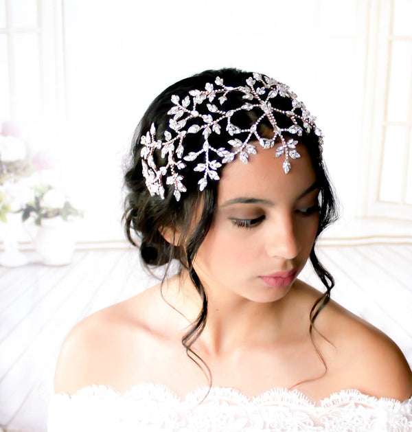 Rose gold Wedding hair piece with Swarovski crystals - AURORA
