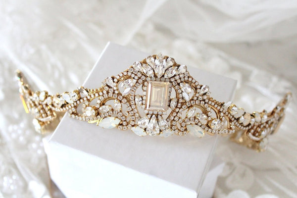 Gold Swarovski crystal Bridal tiara crown - Treasures by Agnes