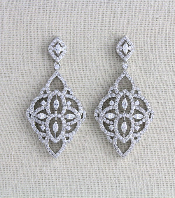 Chandelier statement Crystal Bridal earrings, Art deco style jewelry - EMILY - Treasures by Agnes
