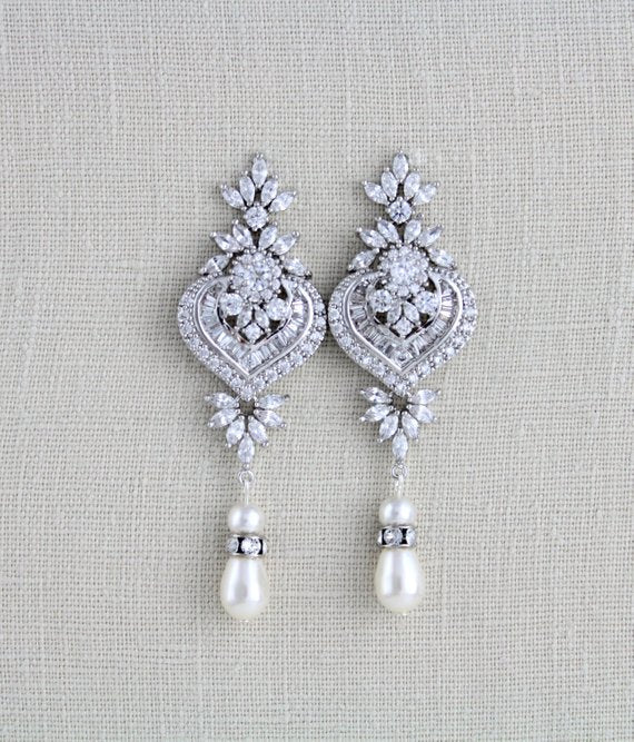 Art Deco Bridal statement earrings with pearl drops, EMMA - Treasures by Agnes