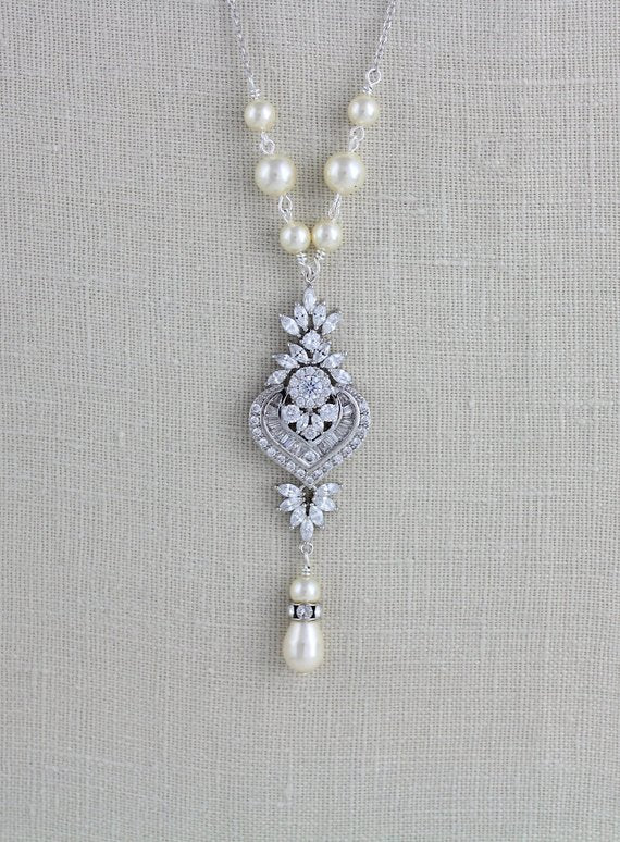 Silver Art Deco Crystal and pearl Bridal necklace - EMMA - Treasures by Agnes