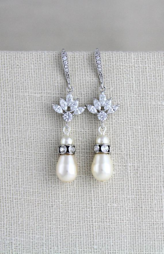 Pearl drop crystal bridal or bridesmaids earrings, EMMA - Treasures by Agnes