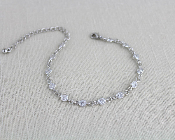 Delicate cubic zirconia rose gold Bridal or Bridesmaid tennis bracelet - KAYLA - Treasures by Agnes
