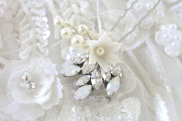 Swarovski crystal and white opal bridal hair pin - Treasures by Agnes