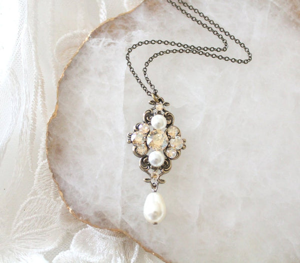 Antique gold Swarovski crystal pendant necklace for Bride or Bridesmaids - Treasures by Agnes