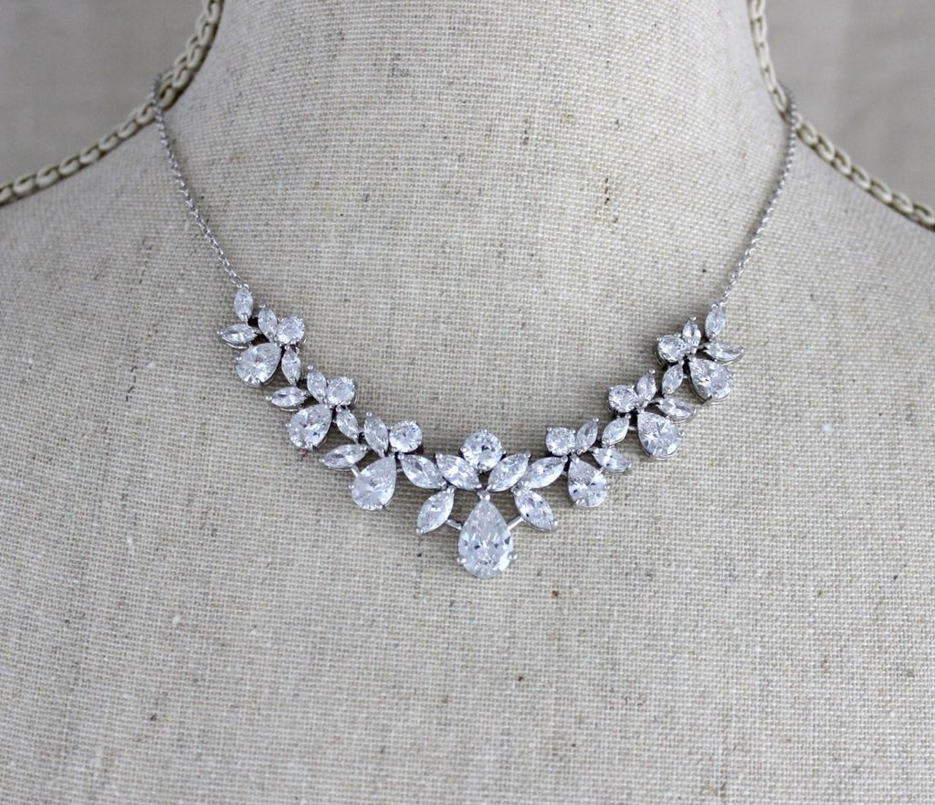 Simple crystal cluster Bridal necklace and earring set - AUBREE - Treasures by Agnes