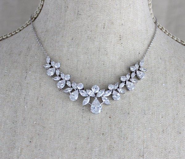 Simple crystal cluster Bridal necklace and earring set - Treasures by Agnes