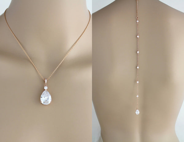 Delicate rose gold backdrop necklace - PEYTON - Treasures by Agnes