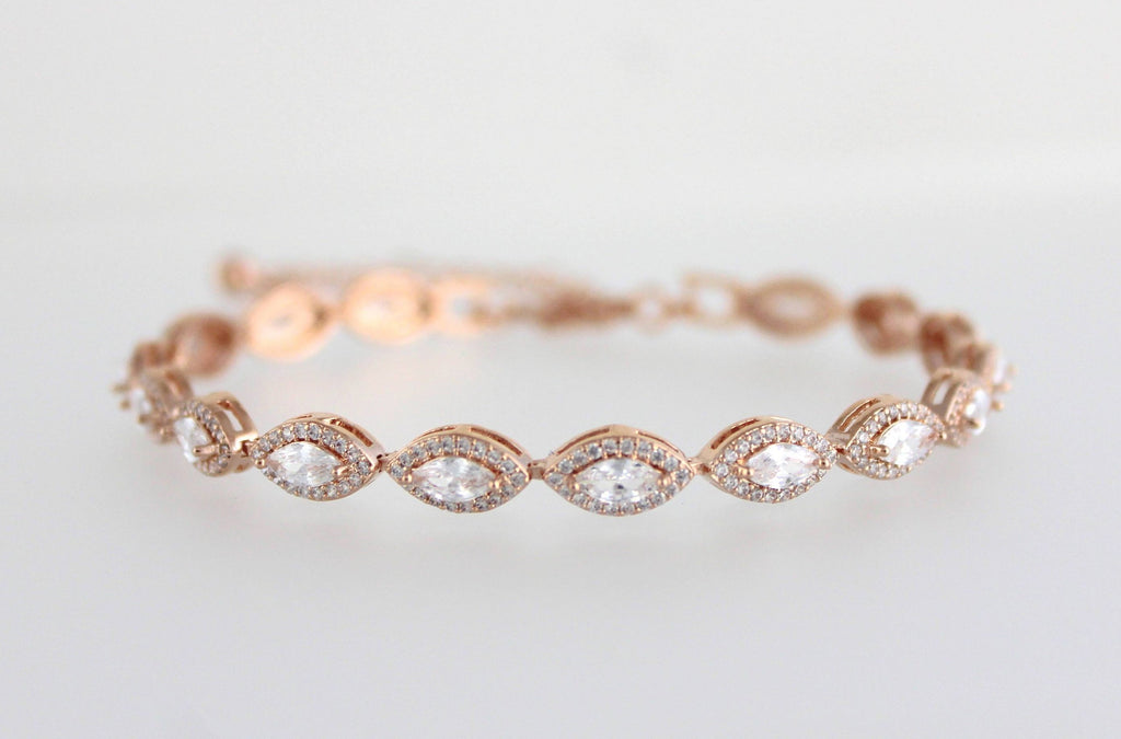 Simple Rose gold bridal Bracelet - SCARLETT - Treasures by Agnes