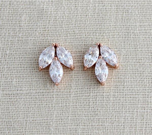 Small or Large Rose gold CZ stud Bridal earrings - LAUREN - Treasures by Agnes