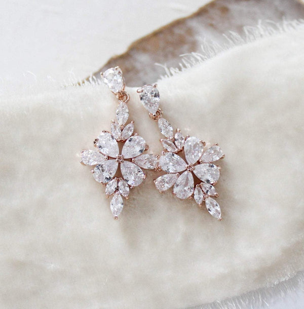 Simple rose gold CZ drop Bridal earrings - BEA - Treasures by Agnes