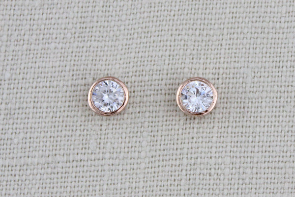 Rose gold 6mm Cubic zirconia stud earrings - Treasures by Agnes