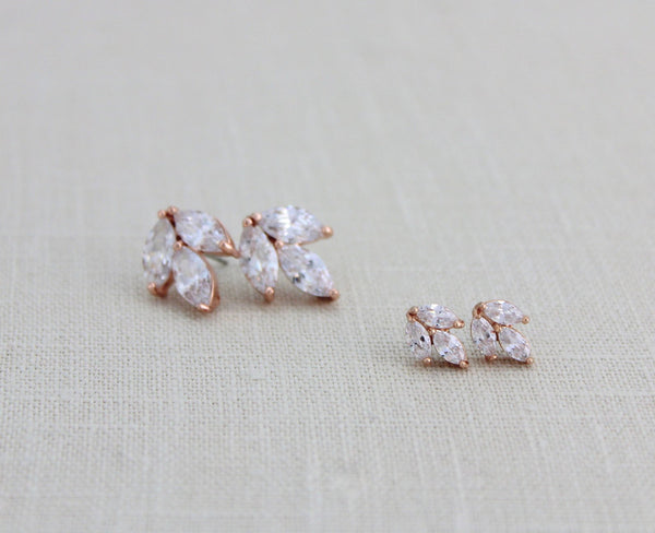 Small or Large Rose gold CZ stud Bridal earrings - Treasures by Agnes
