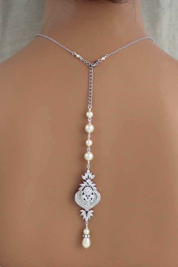 Backdrop necklace Bridal jewelry Wedding back necklace Cubic zirconia and pearls - EMMA - Treasures by Agnes