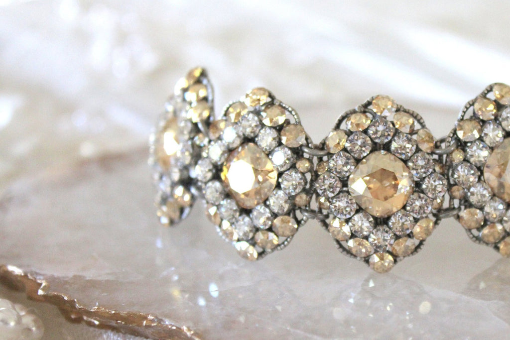 Swarovski crystal statement cuff Bridal bracelet - Treasures by Agnes
