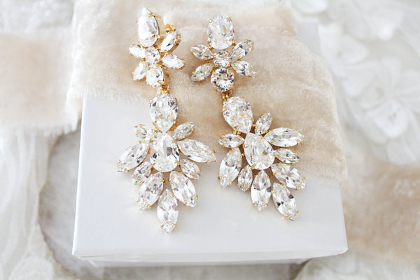 Swarovski crystal Bridal Statement earrings - JESSICA - Treasures by Agnes