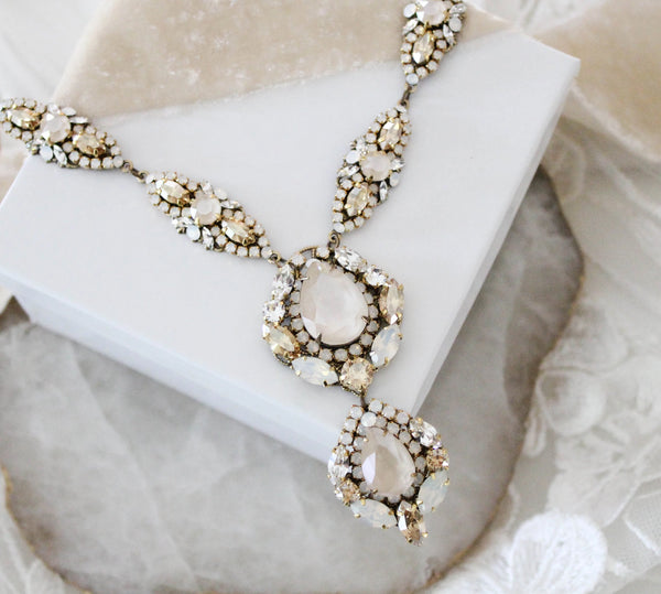 Antique gold Swarovski crystal Bridal necklace - Treasures by Agnes