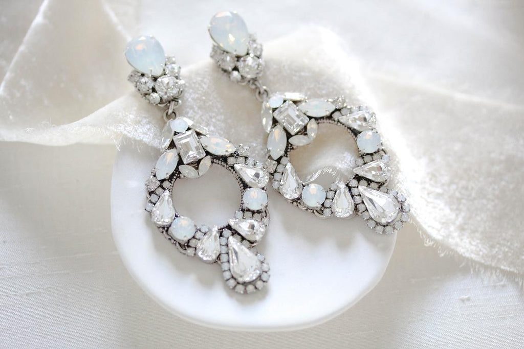 Swarovski crystal wedding hoop earrings - DANIELLE
