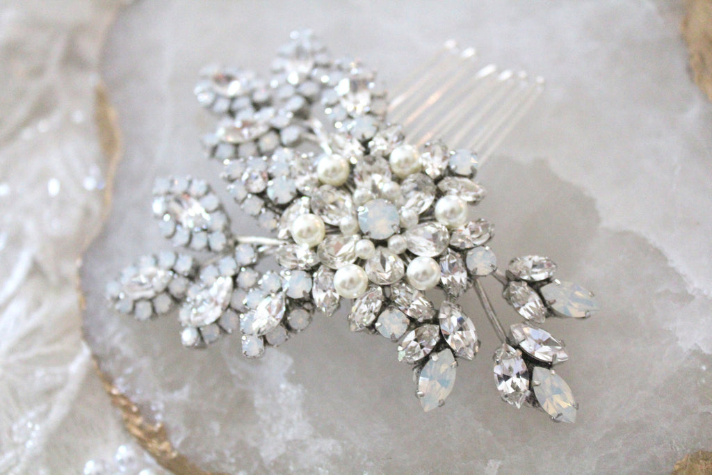 Swarovski crystal and white opal bridal hair comb - Treasures by Agnes