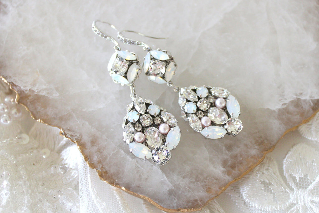 Modern Vintage Swarovski crystal Bridal Chandelier earrings - Treasures by Agnes
