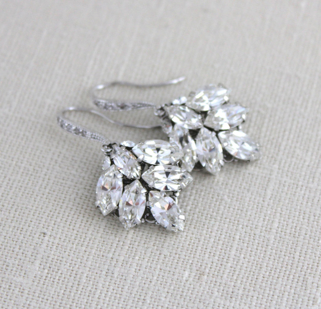 Swarovski crystal Simple Dangle Bridal earrings - PHOEBE - Treasures by Agnes