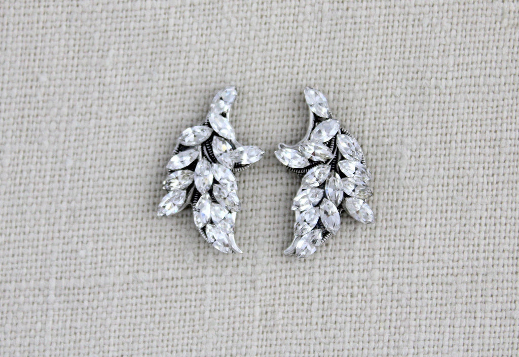 Swarvoski crystal leaf stud earrings - Treasures by Agnes