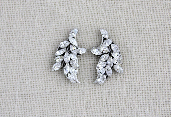 Swarvoski crystal leaf stud earrings - ABBY - Treasures by Agnes