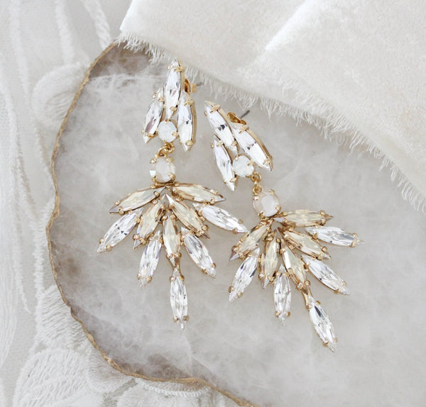 Swarovski crystal Bridal Statement earrings - MCKENNA - Treasures by Agnes