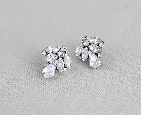 Vintage style Crystal stud bridal earrings with Swarovski stones - MOLLY
