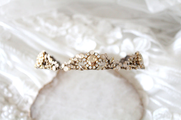 Antique gold Vintage style Bridal tiara headpiece - Treasures by Agnes