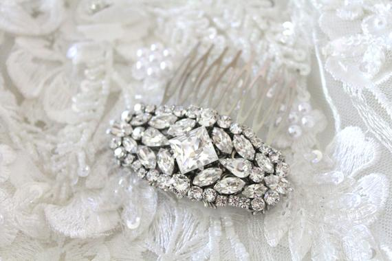 Vintage style Silver Swarovski Crystal Bridal Hair comb - Treasures by Agnes