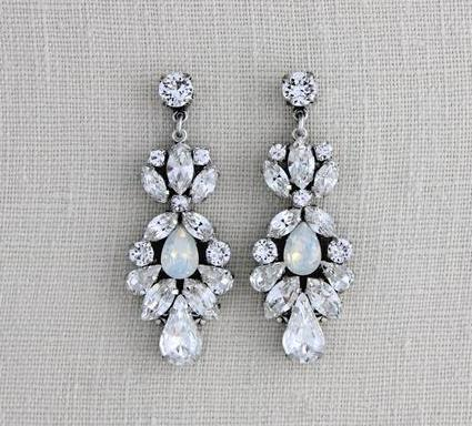 Vintage style Swarovski Crystal bridal earrings, white opal earrings - Treasures by Agnes