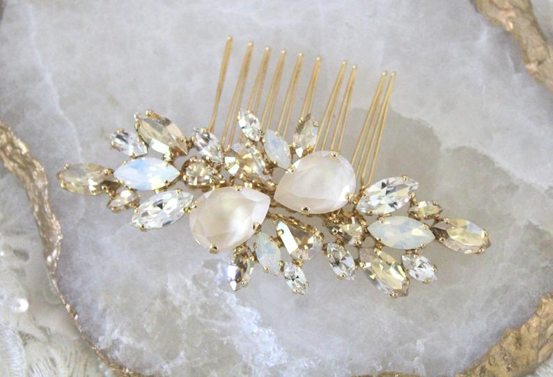 Swarovski Ivory cream White opal Bridal hair comb - Treasures by Agnes