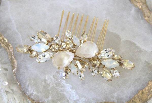 Swarovski Ivory cream White opal Bridal hair comb - REESE - Treasures by Agnes