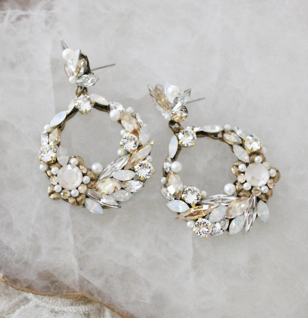 Swarovski crystal round hoop Bridal earrings - CHRISTINE - Treasures by Agnes