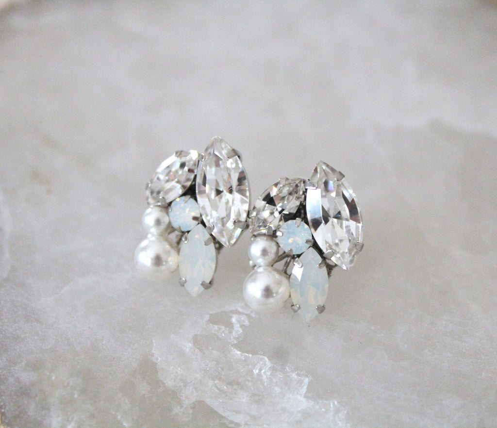 Swarovski crystal white opal Bridal stud earrings - BRIAR - Treasures by Agnes