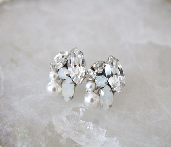 Swarovski crystal white opal Bridal stud earrings - Treasures by Agnes