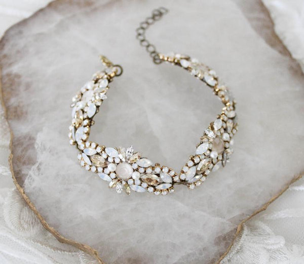Antique gold Swarovski crystal Bridal beaded bracelet - GRACE - Treasures by Agnes